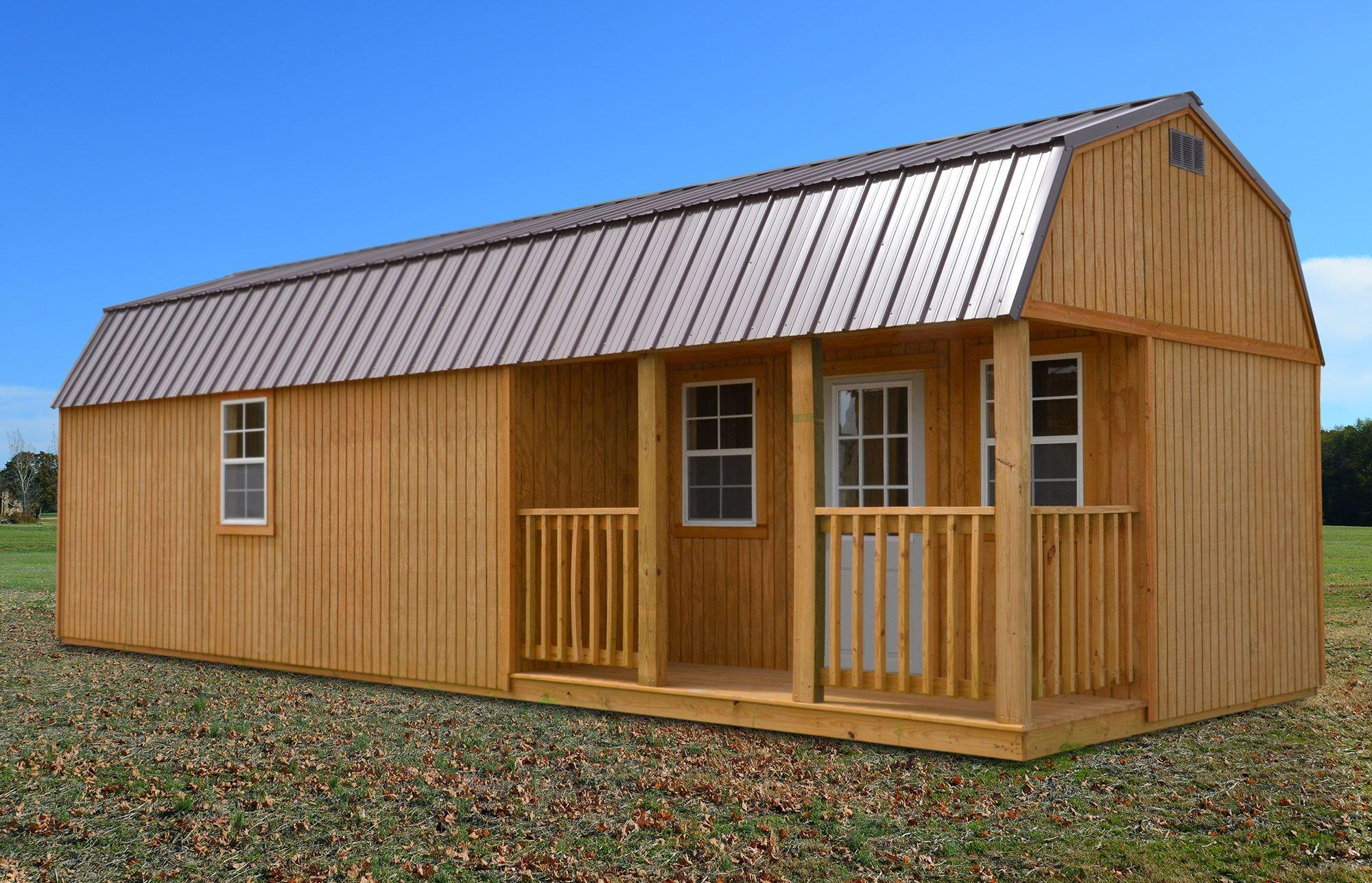 Treated side lofted barn cabin derksen portable buildings for Lofted barn shed